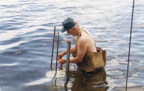 dad puts in dock at moose lake