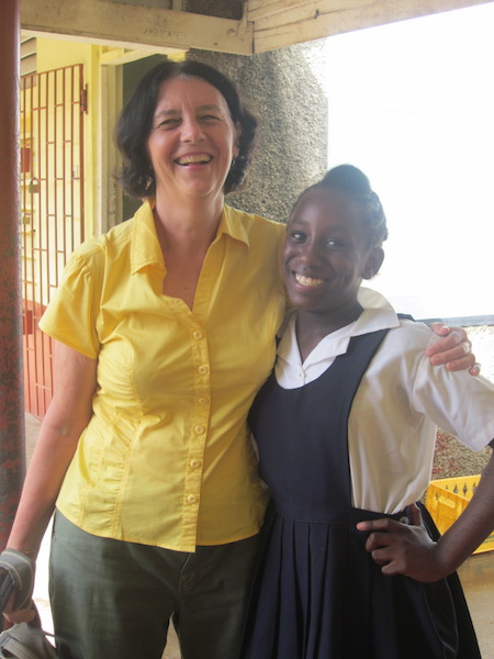 With one of my students at the tutoring centre where we worked in Jamaica