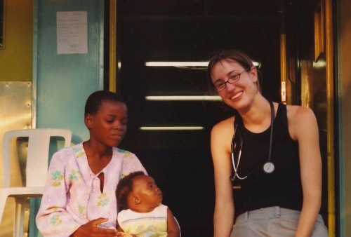 My daughter-in-law with her patients in South Africa