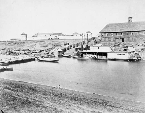 A photograph of the Dakota docked at Upper Fort Garry in the early 1870s