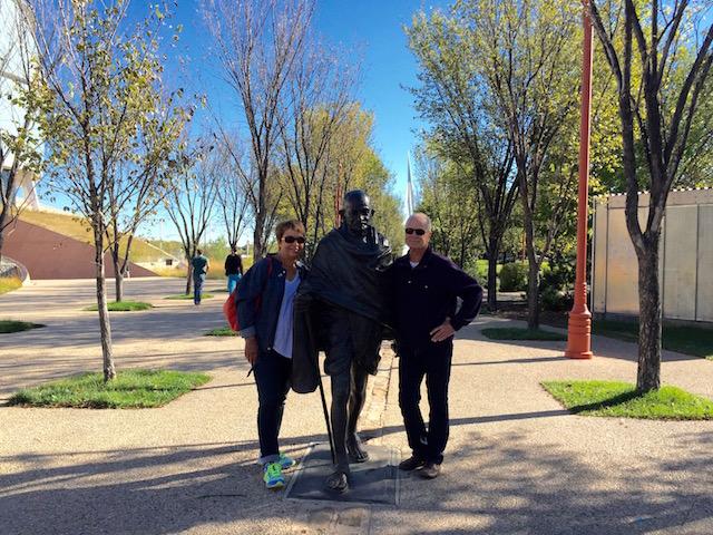 Posing with Gandhi statue
