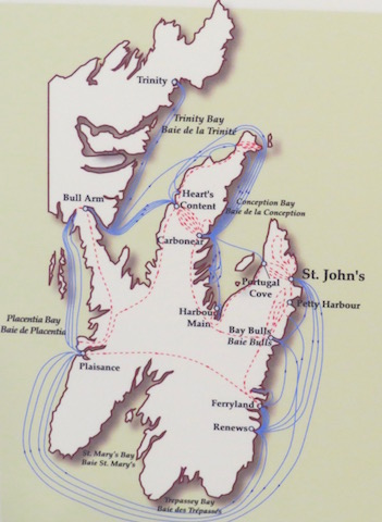 Map of d'Ibervilles deadly march around the peninsula. Taking St. John's wasn't enough he had to destroy all the little villages on the peninsula.