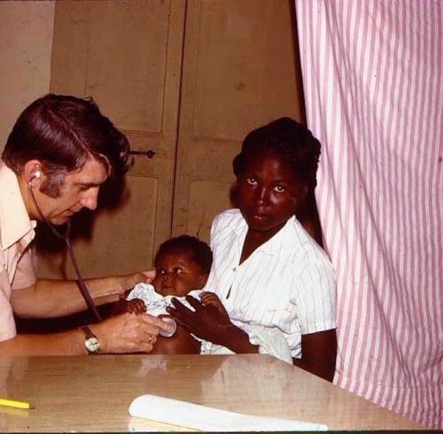 My Dad examining patients in Haiti