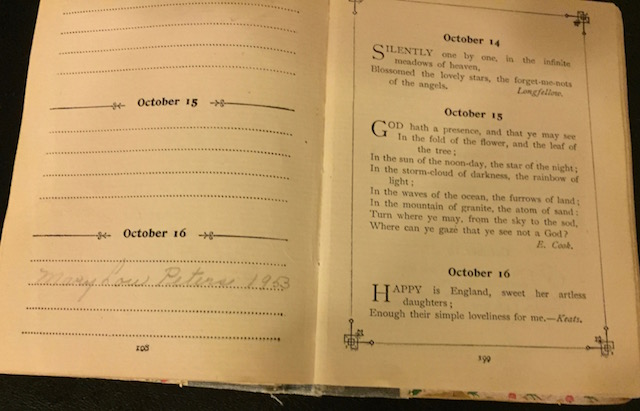 MaryLou's page in birthday book