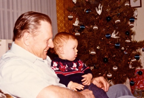 Our son's first Christmas. He is sitting with my father-in-law- his Opa.