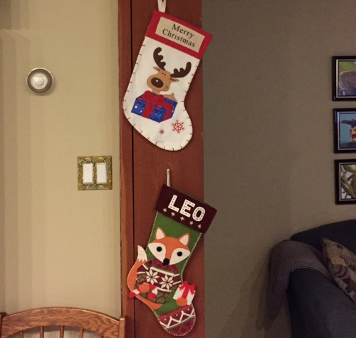 Our new grandson's stocking is ready for his first Christmas.