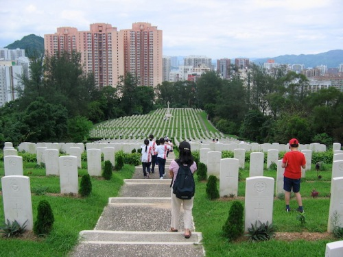 My students heading down into a war cemety in Hong Kong to do history research