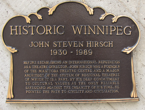 john hirsch plaque at the manitoba theatre centre winnipeg