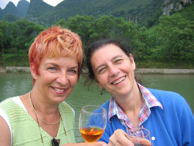 me and shirley drinking snake wine li river