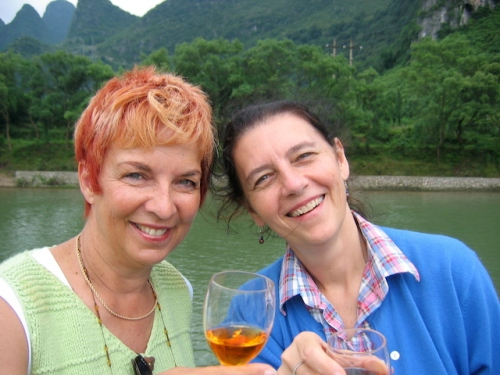me and shirley drinking snake wine li river