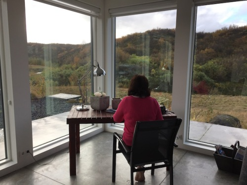 at the writing desk in iceland