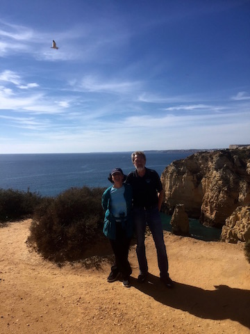 with rudy on hike in portugal