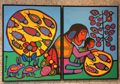 Grandfather Teaching Grandson by Norval Morriseau