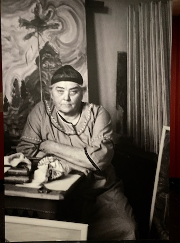 Silver gelatin print of Emily Carr in her studio in 1939 by Harold Mortimer-Lamb