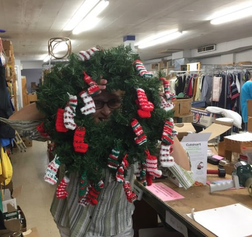 marge at thrift store with wreath