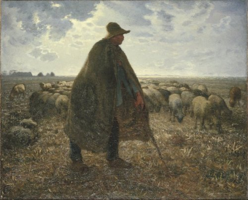 shepherd tending his flock millet brooklyn museum