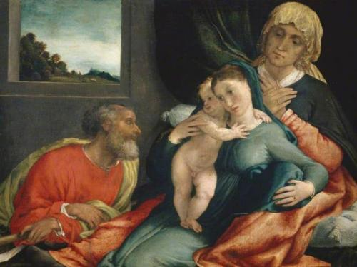 Holy Family with Saint Anne and Saint Joachim by Lorenzo Lotto