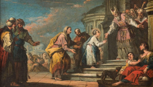 Presentation of Mary at the Temple by another Italian artist Gaspare Diziani some two hundred years later in 1730.