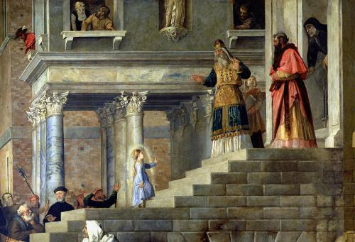 presentation of the virgin done in 1534 by Titian
