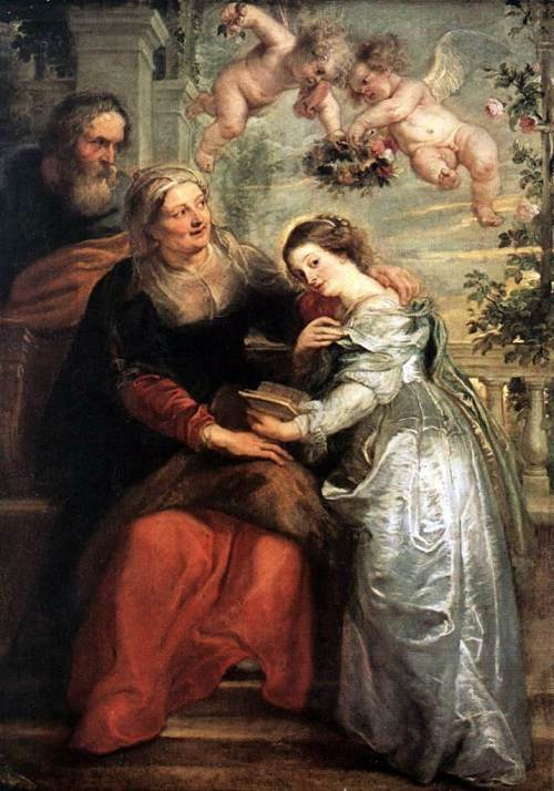 The Education of the Virgin and is by Flemish artist Peter Paul Rubens. It dates from 1625 and is in the Royal Museum in Brussels.