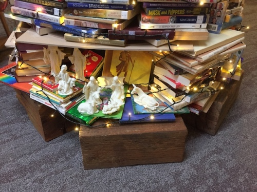 manger scene book christmas tree