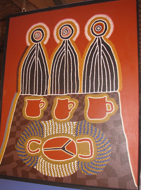 three wise men by linda syddick offering billy tea as gifts to mary and joseph pintupi people