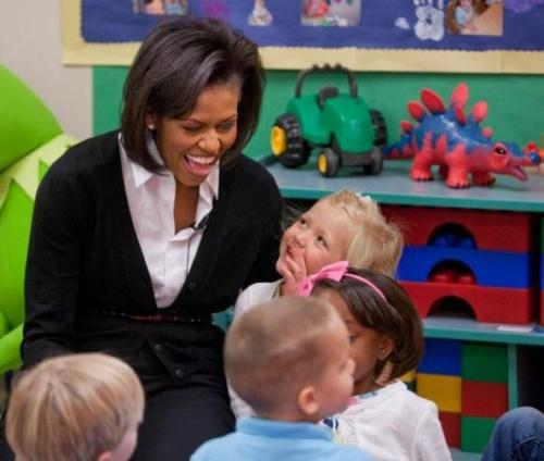 michelle obama with children at a child development center in north carolina public domain