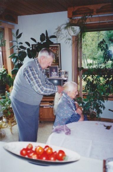grandpa braiding grandma's hair