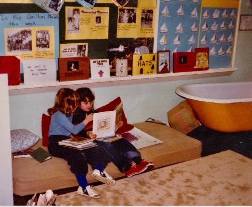 trina and roxie in reading corner