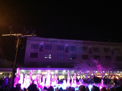 light show on buildings