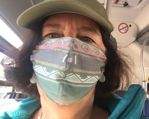 on the bus with mask